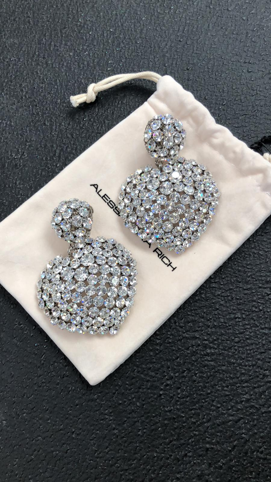 CRYSTAL HEART EARRINGS WITH LARGE SPHERE CLIP