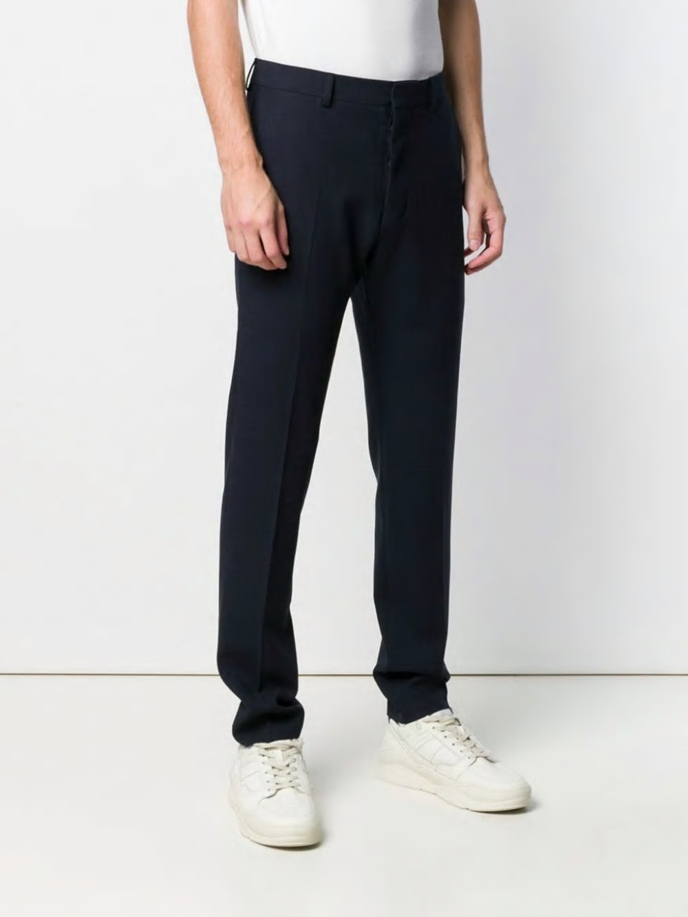 MEN FITTED LEG TROUSERS WOOL CREPE