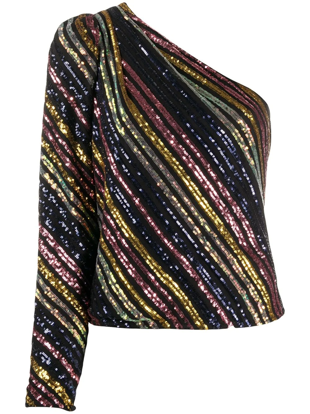 STRIPE SEQUIN ASYMMETRIC TOP