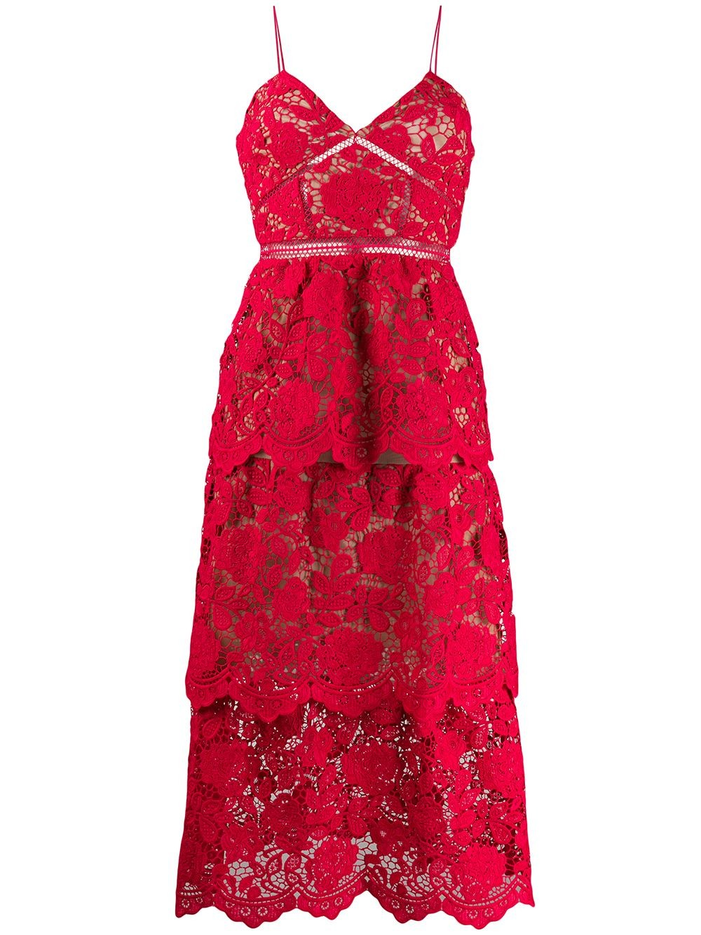 FUCHSIA FLOWER LACE MDI DRESS