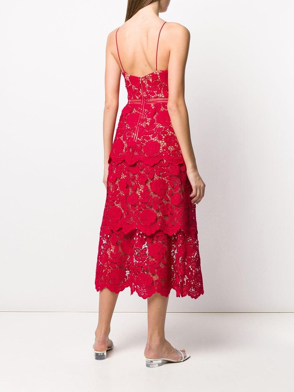 FUCHSIA FLOWER LACE MDI DRESS