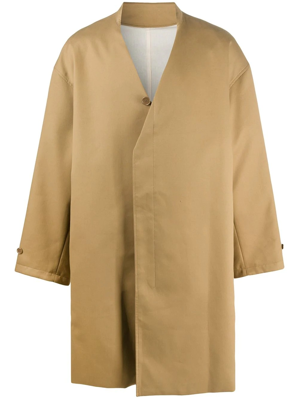 Car coat with pleated-in collar