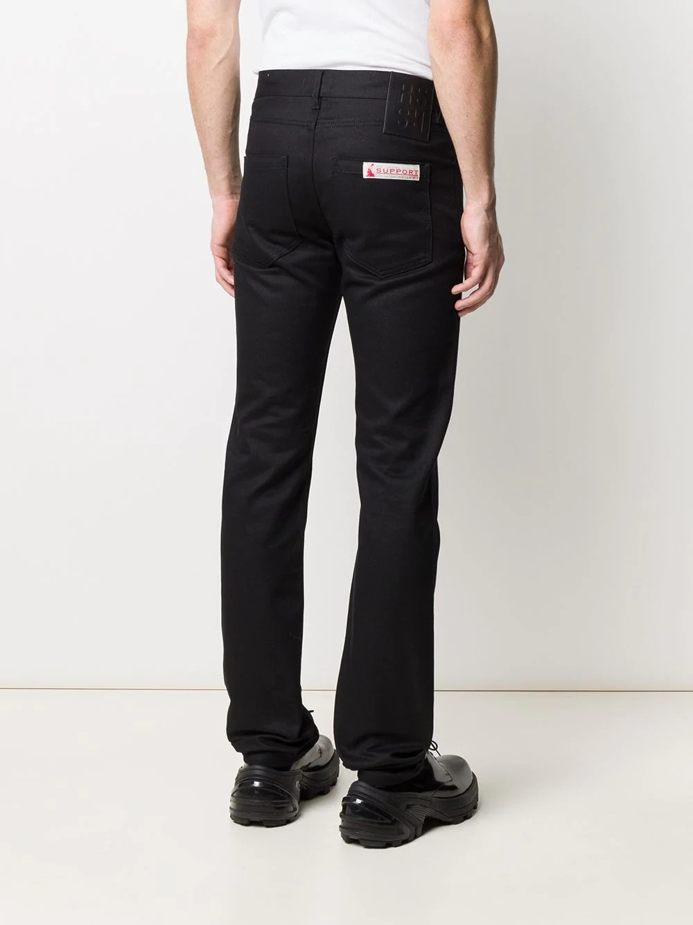 Slim fit denim pants with label