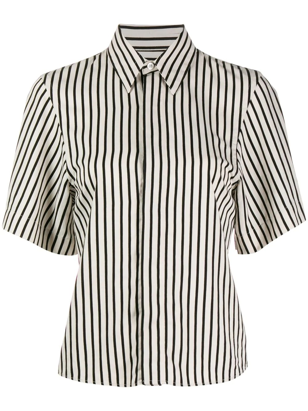 WOMAN SHORT SLEEVES SHIRT WITH INVISIBLE BUTTON PLACKET STRIPED VISCOSE