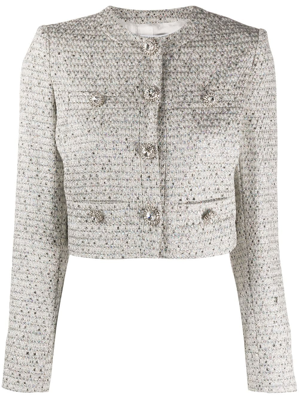 LUREX TWEED CROPPED JACKET, CRYSTAL CHAIN BUTTONS