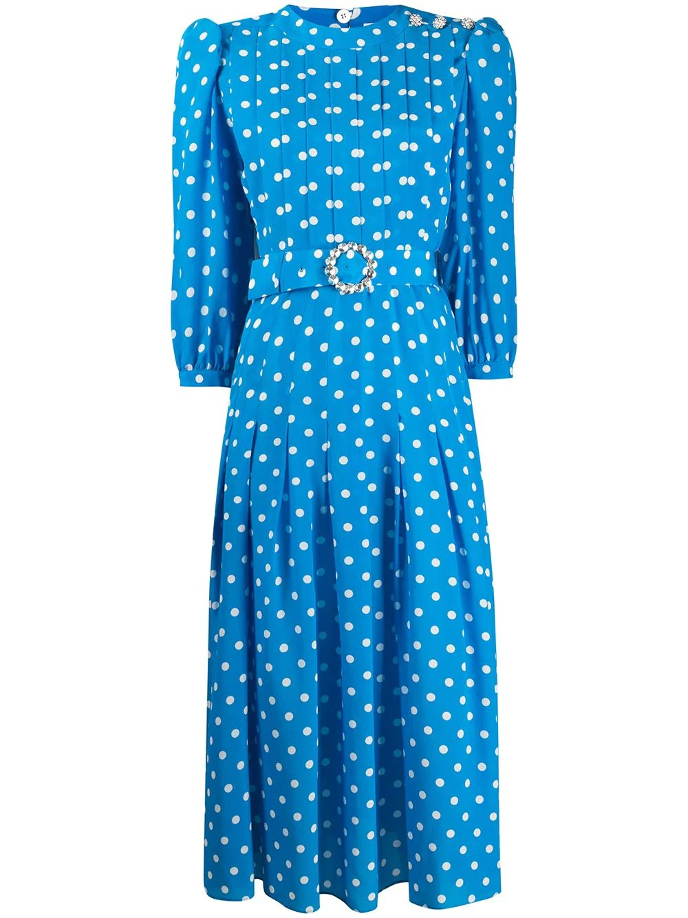 POLKA DOT PLEATED SILK DRESS WITH CRYSTAL BUTTONS