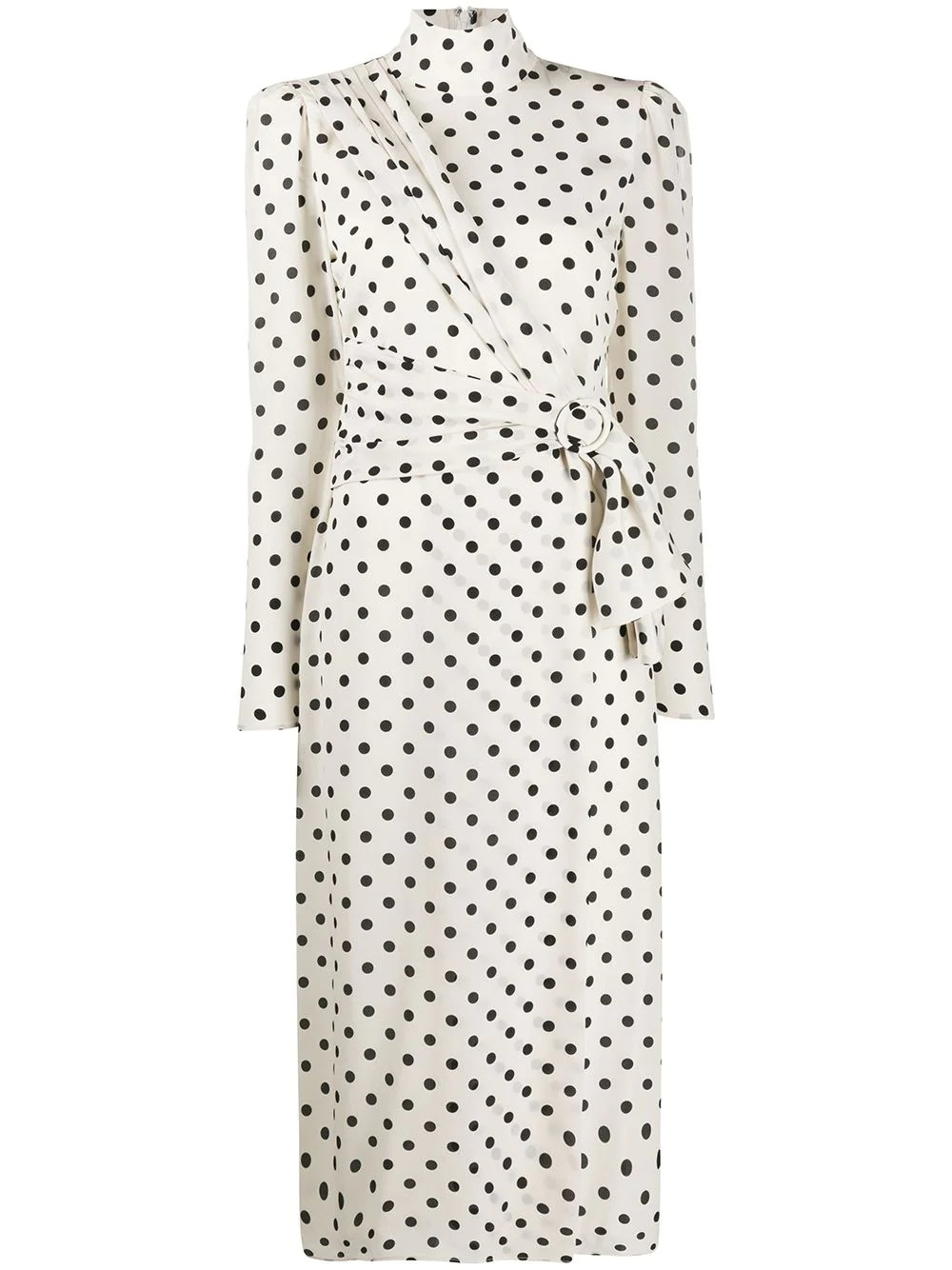 POLKA DOT HIGH NECK CDC DRESS WITH DRAPED FRONT