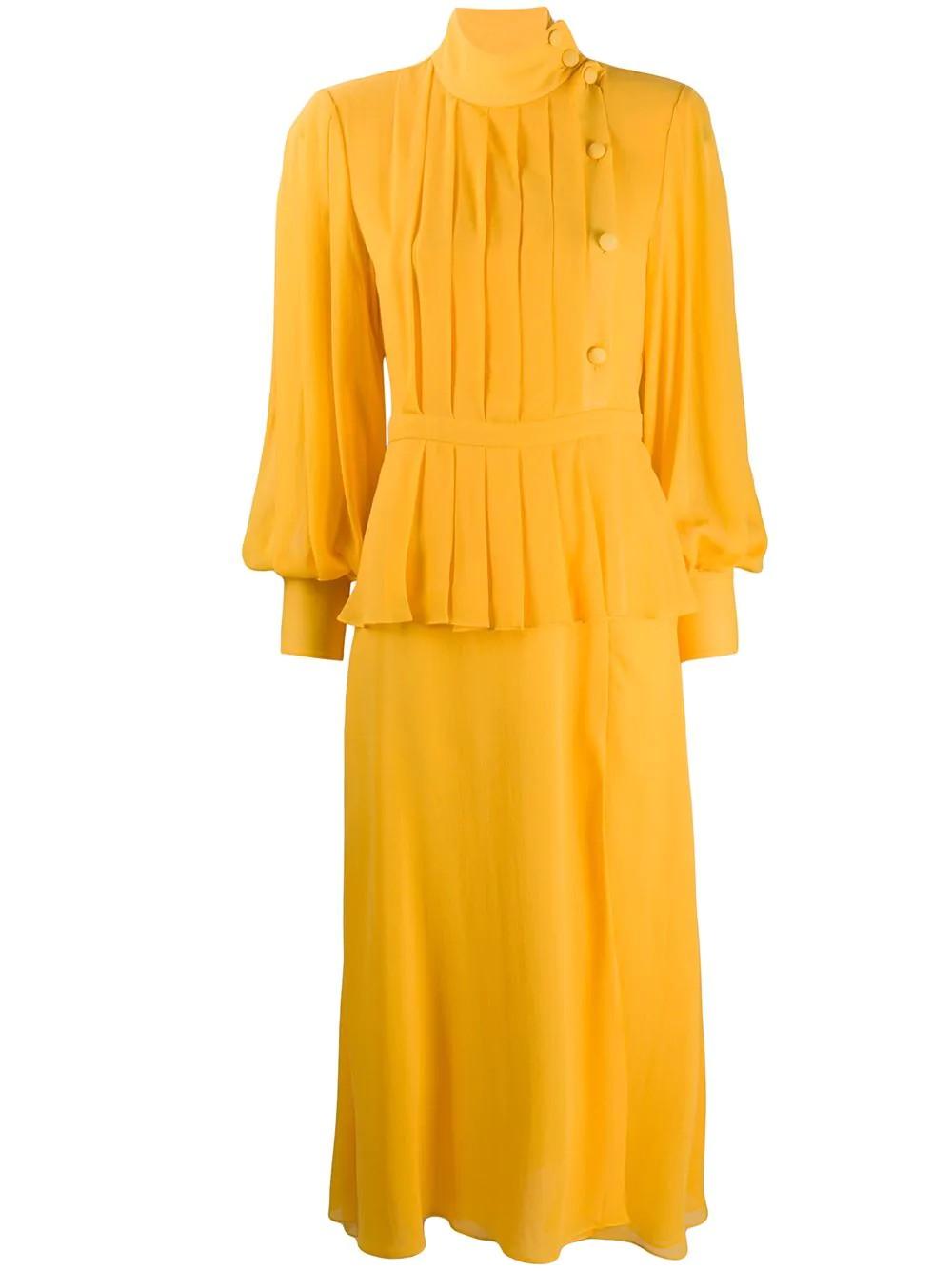 SILK GEORGETTE PLEATED DRESS WITH PEPLUM