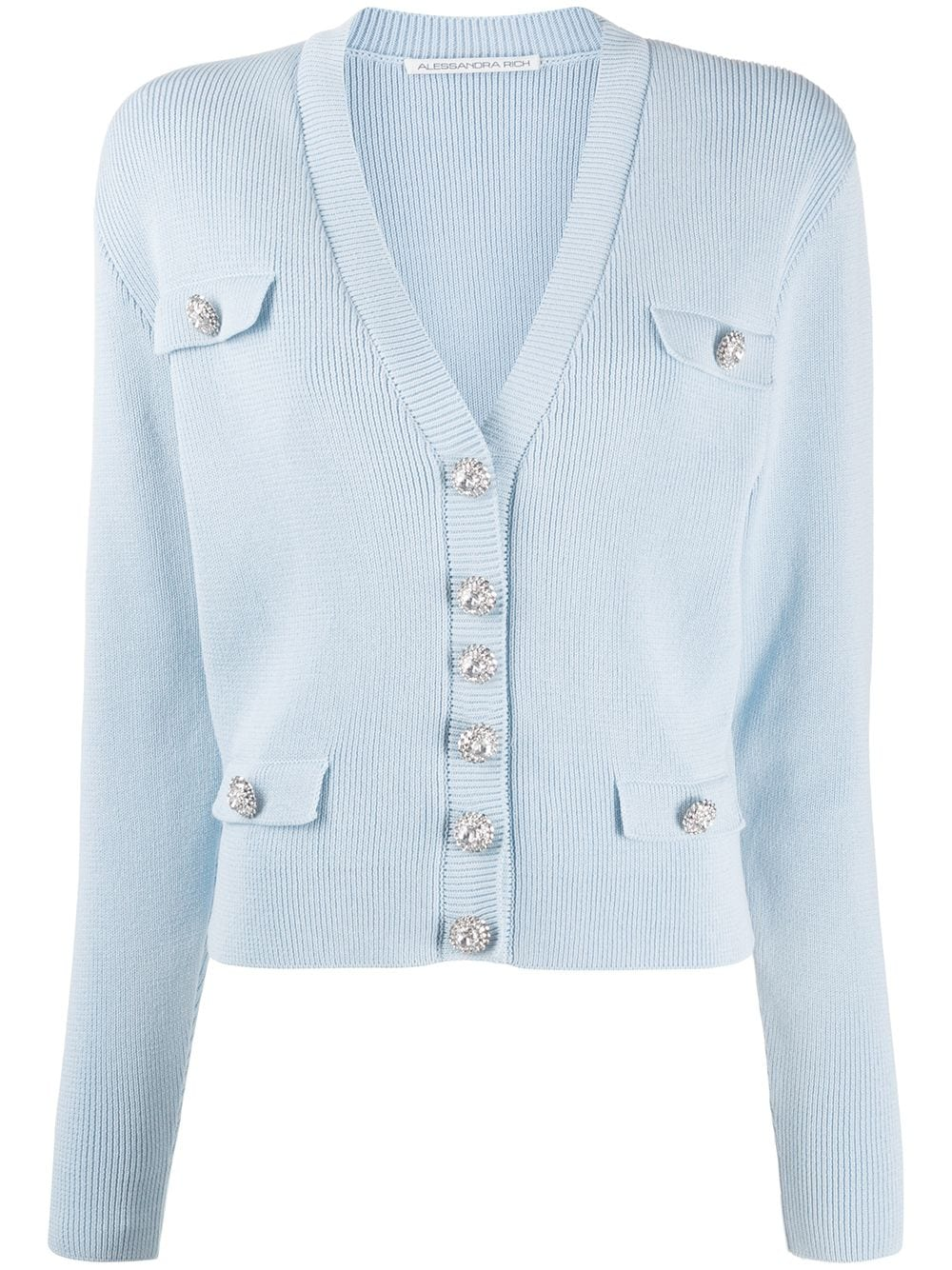 KNITTED COTTON CARDIGAN WITH CRYSTAL BUTTONS