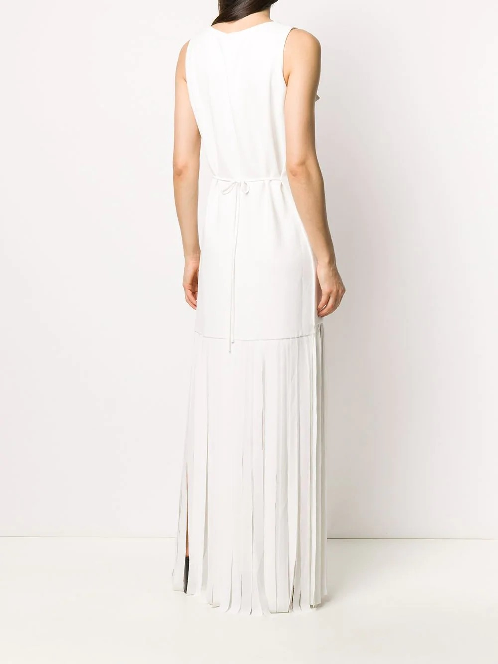Wenjing dress Ankle lengh Wide Tie accent at waist