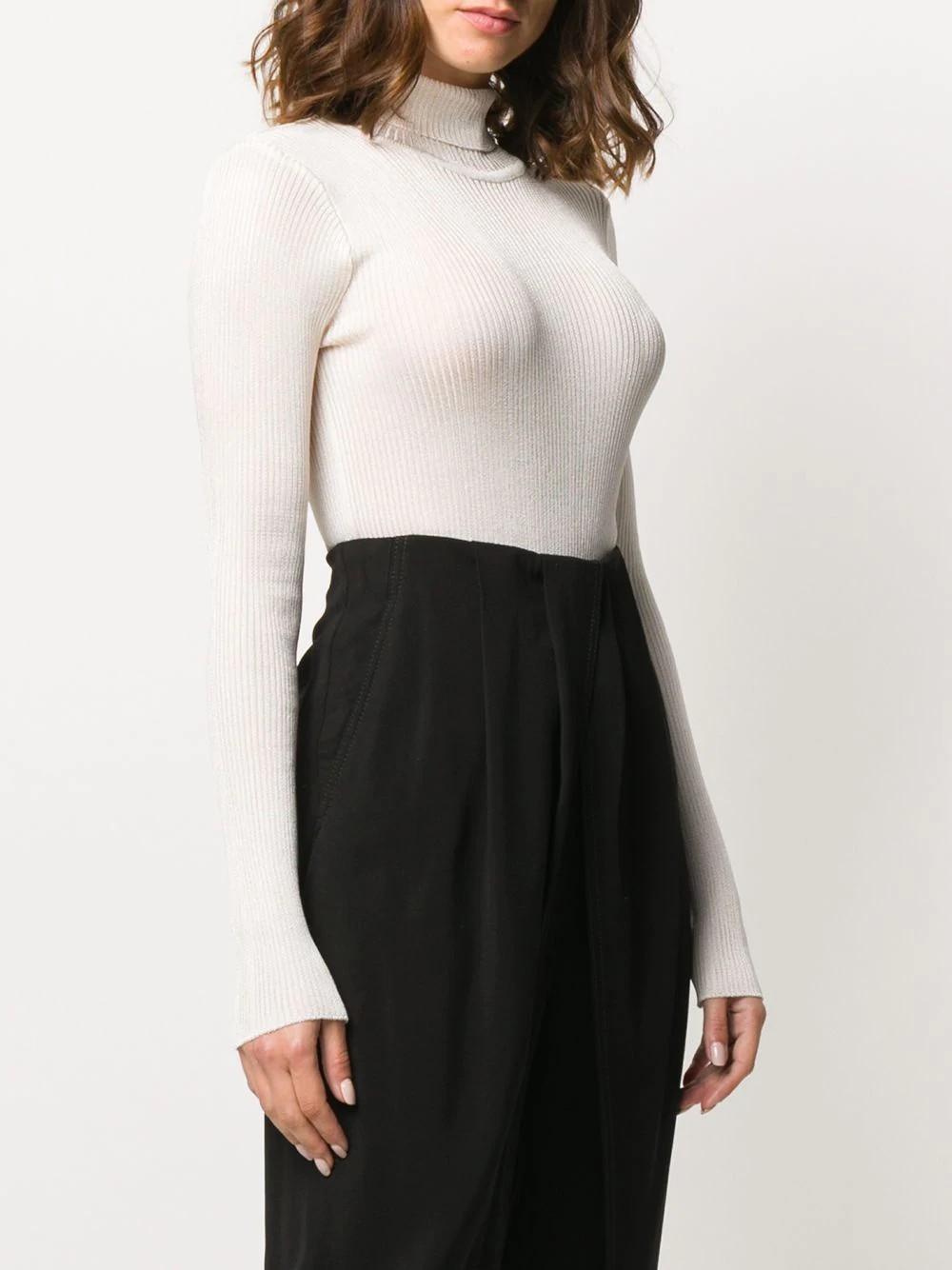 Knitted asymmetric bodysuit Long sleeve