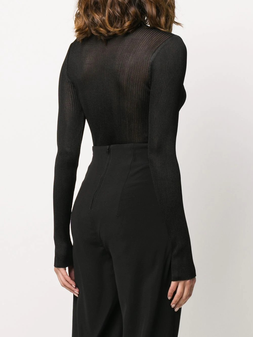 Knitted asymmetric bodysuit Long sleeve