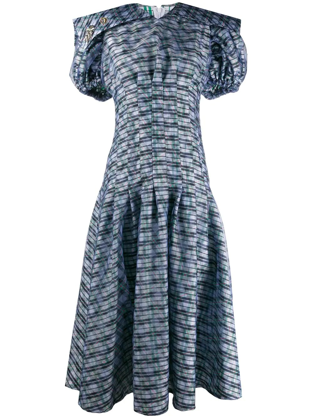 DOUBLE FLOUNCE CHECK DRESS