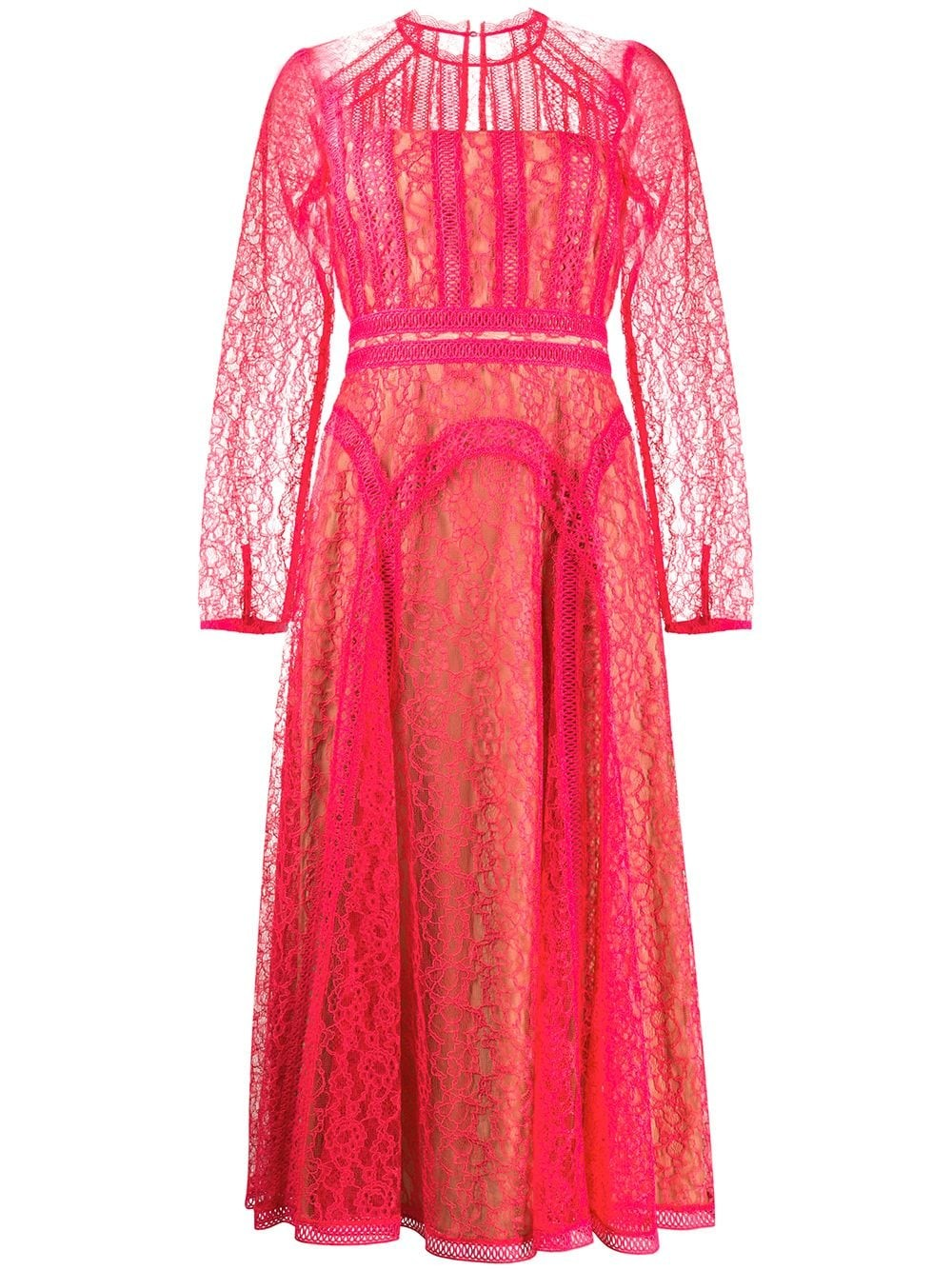 HOT PINK LACE PANEL MINI DRESS