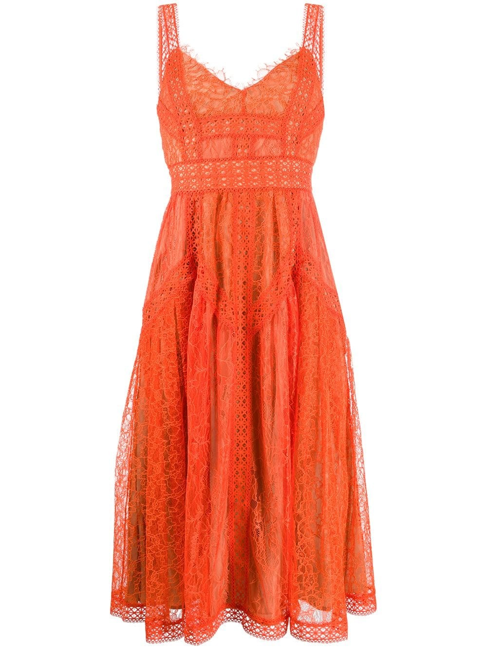 ORANGE LACE PANEL MIDI DRESS