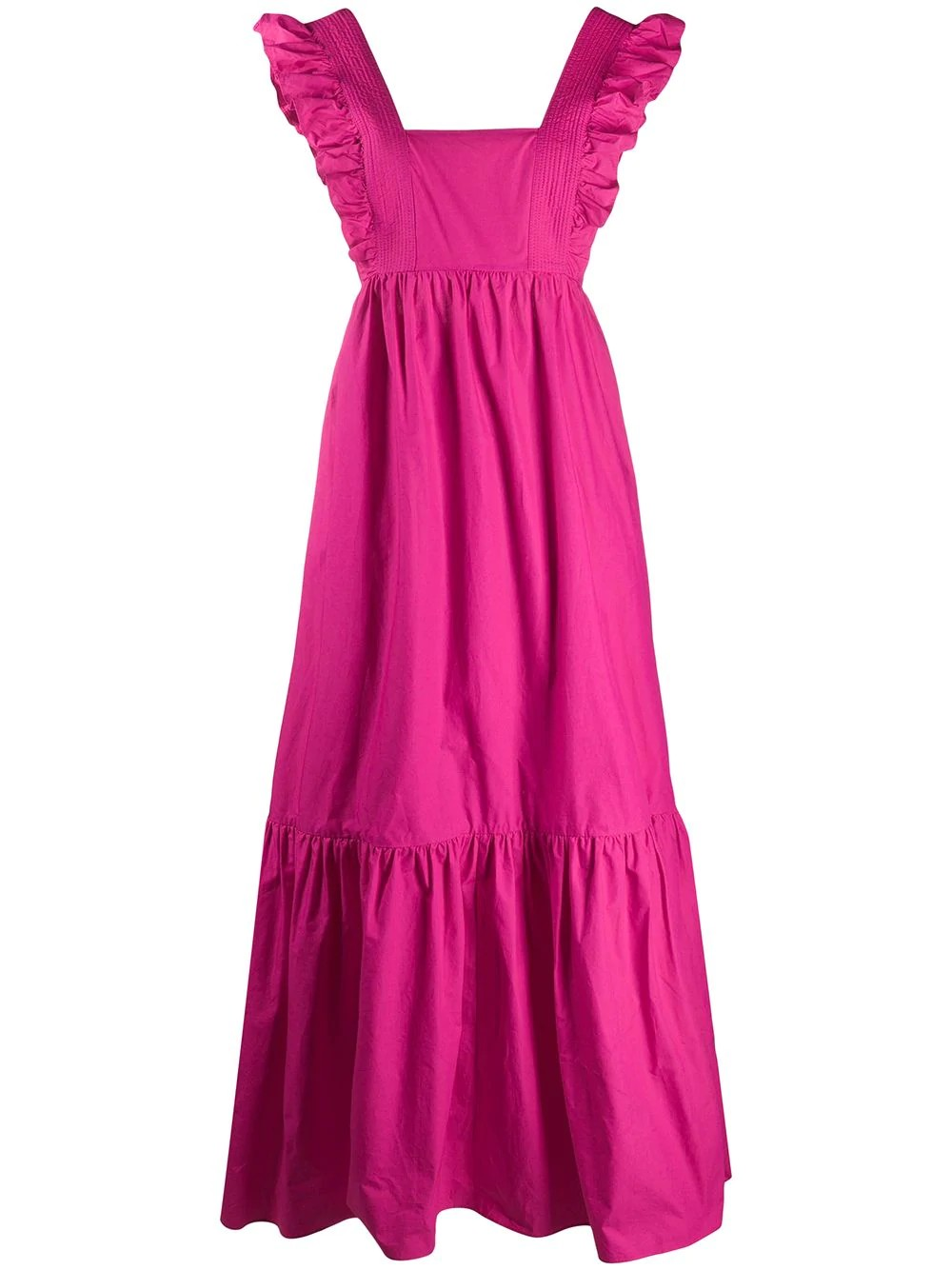 FUCHSIA COTTON POPLIN MAXI DRESS