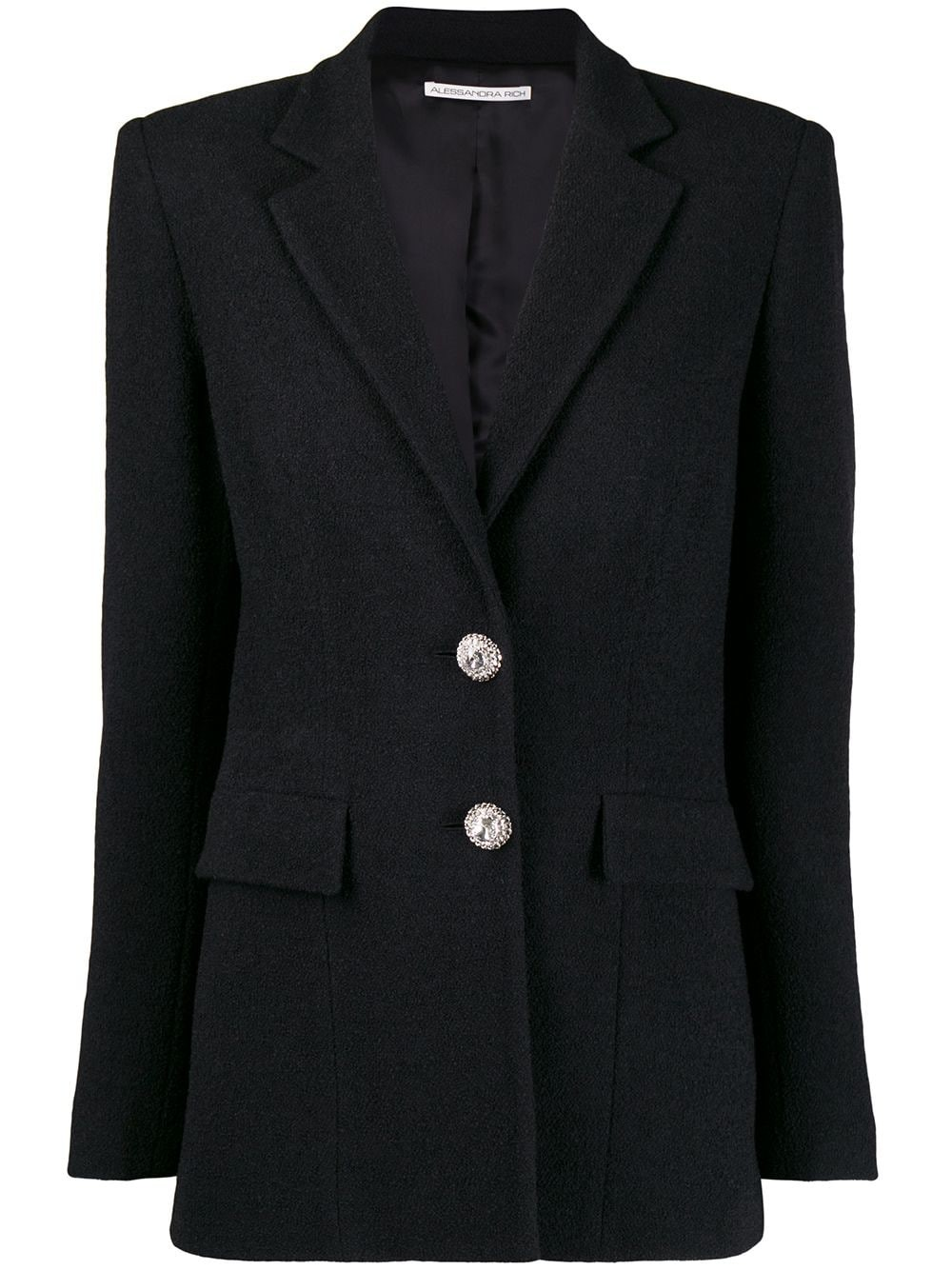 SINGLE-BREASTED TWEED JACKET WITH CRYSTAL BUTTONS