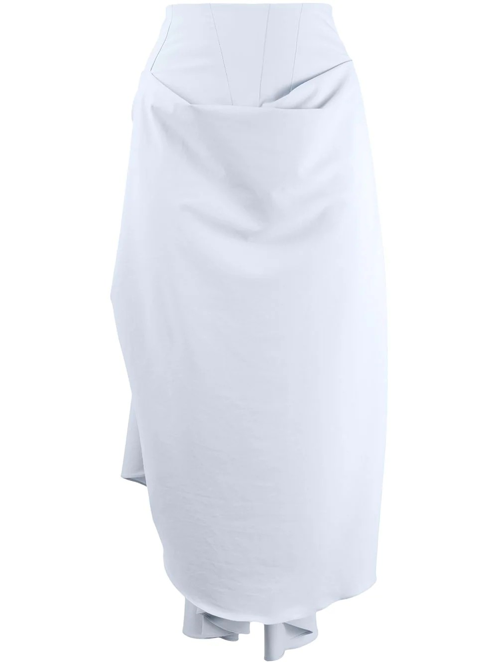 HIGH WAISTED DRAPE SKIRT WITH BACK GATHERING