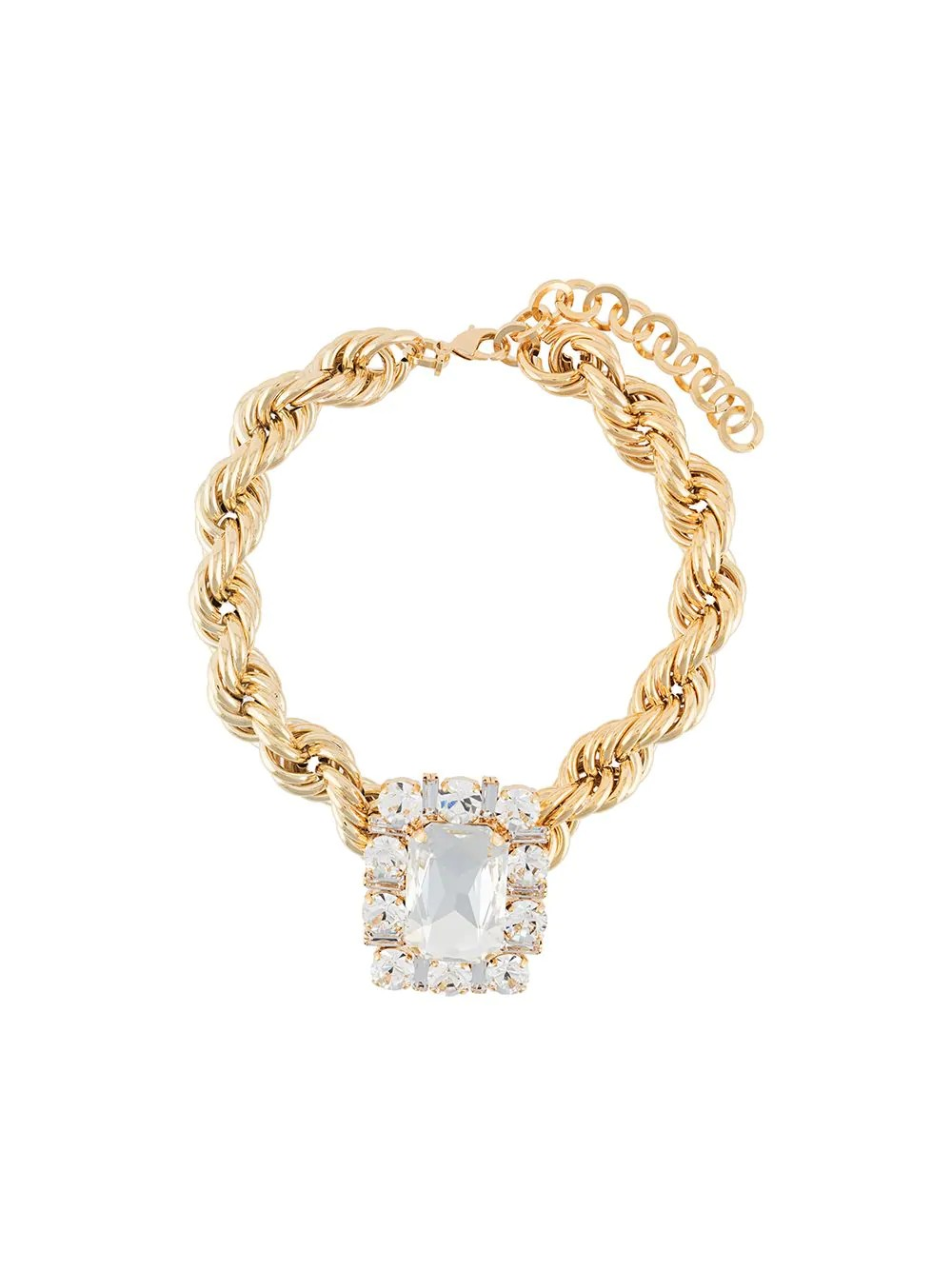GOLD TONED CHOKER WITH CRYSTAL SQUARE