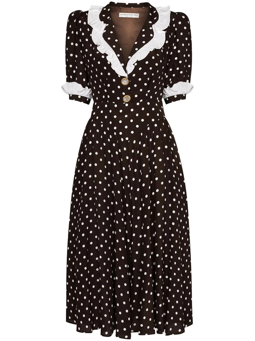 POLKA DOT SILK DRESS WITH COLLAR & ruffle details