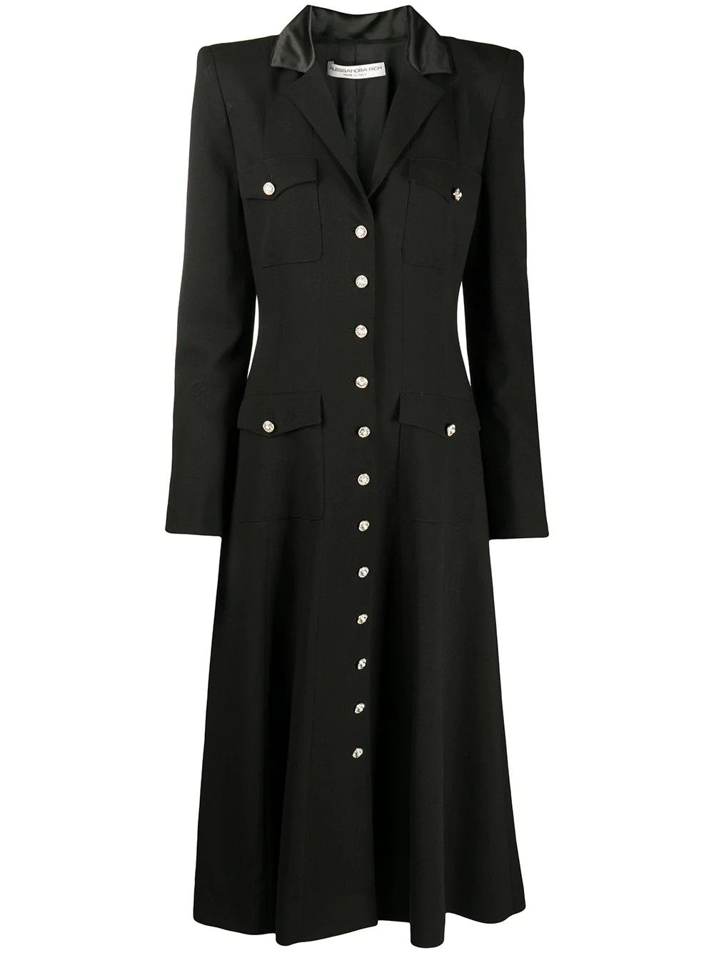 WOOL BUTTON FRONT DRESS WITH POCKETS