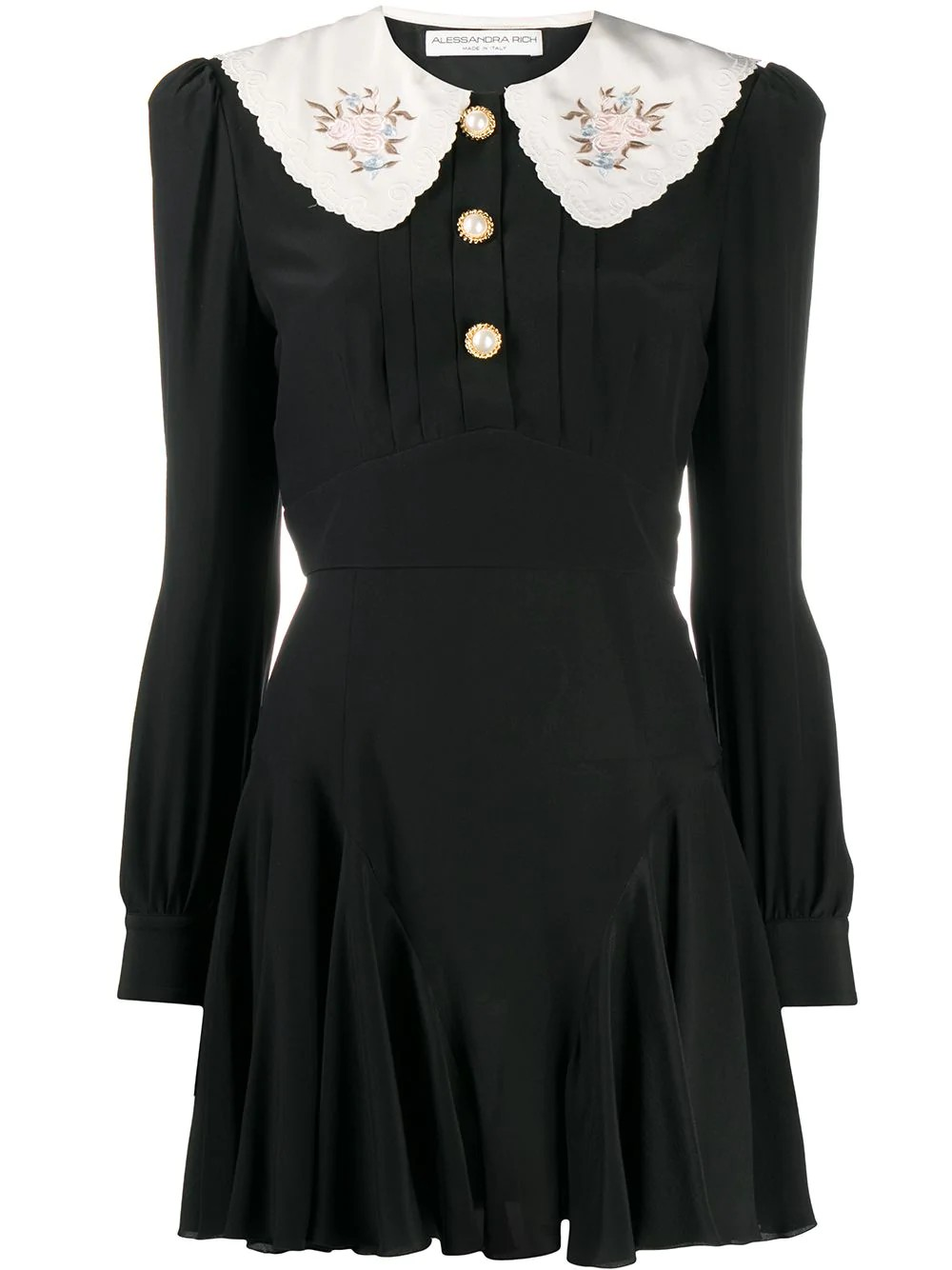 SILK MINI DRESS WITH EMBROIDERED COLLAR