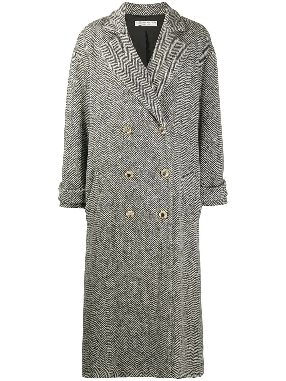 TWEED COAT WITH CRYSTAL BUTTONS