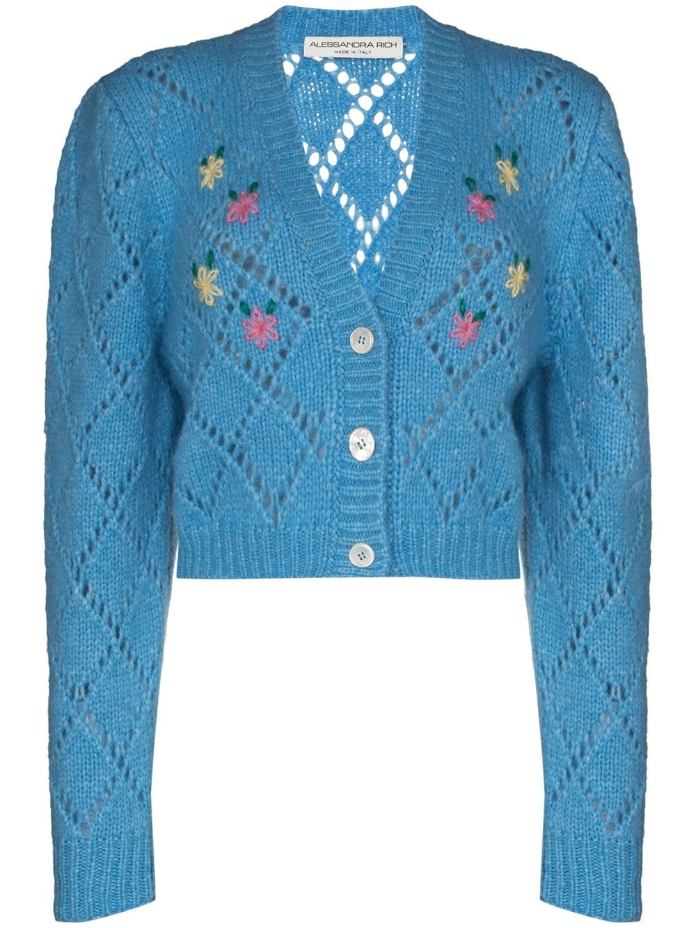 WOOL CARDIGAN WITH FLORAL DETAIL