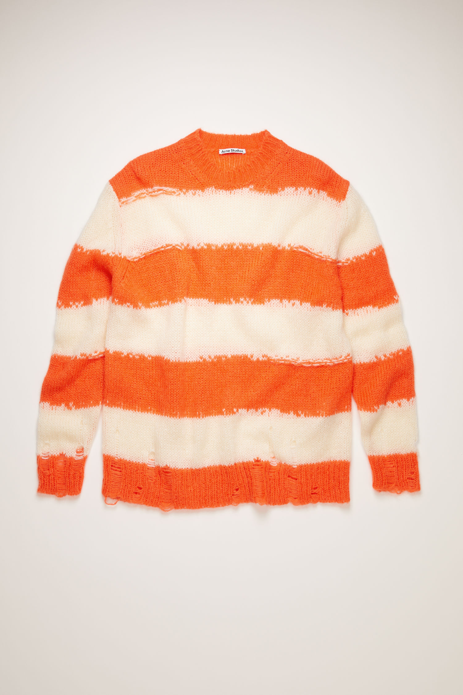 Distressed striped sweater off